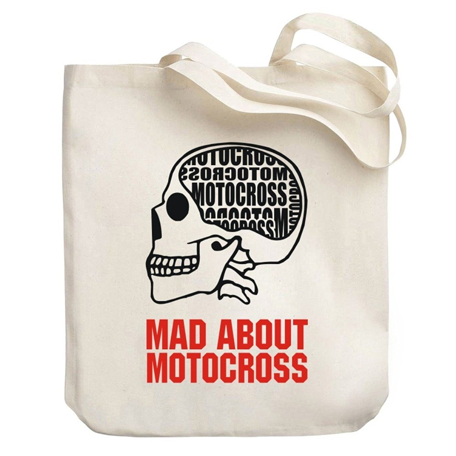 Teeburon MAD ABOUT Motocross SKULL Canvas Tote Bag