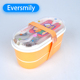 Practical dinner box children plastic tableware with stainless steel material