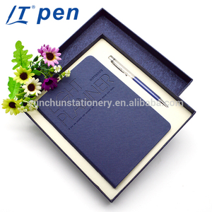 2018 Promotional business meeting notepad printed logo blue notebook set