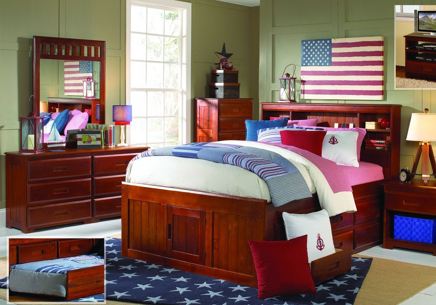 Full Size Captains Bed with Bookcase Headboard, Six Storage Drawers & Free Storage Pockets