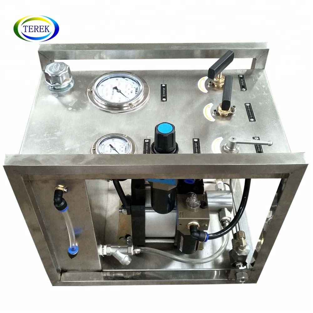 Pneumatic pump and Air booster unit control cabinet for High pressure liquid transfer