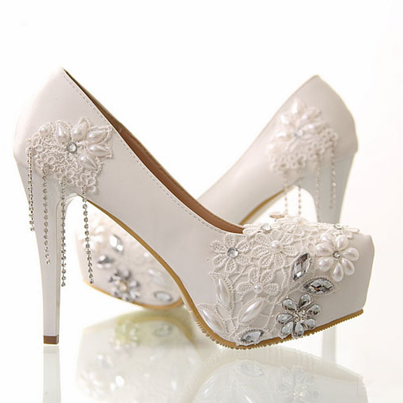 Newest White Flower Rhinestone Wedding Dress Shoes Bridal Shoes Super High Heel Wedding Outfit Bridesmaid Shoes Lady Pumps