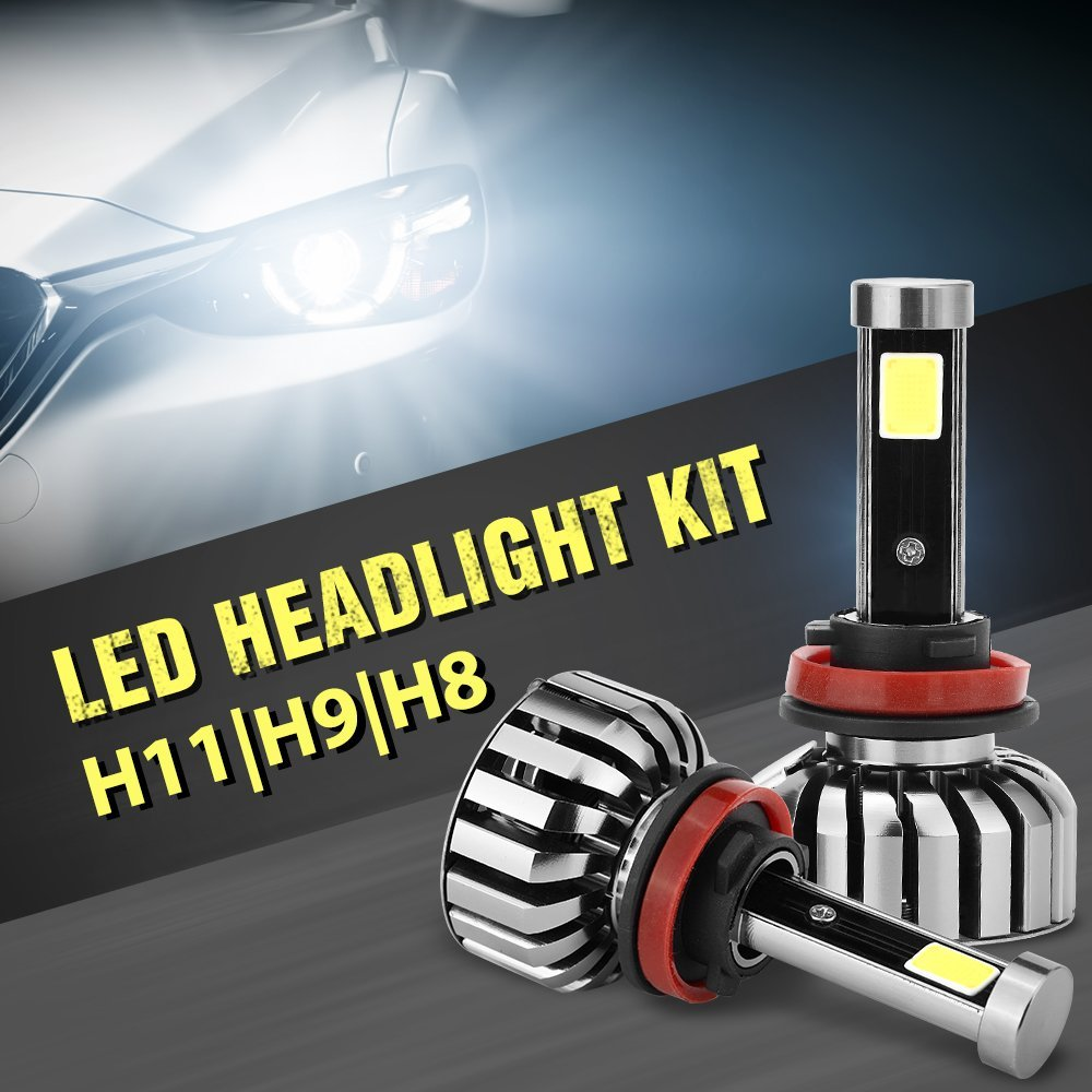 DOGOO H11 H9 H8 LED Headlight Bulbs All-in-One Conversion Kit ,8000LM 6000K 80W high power COB LED,Cool White(2 Pack)
