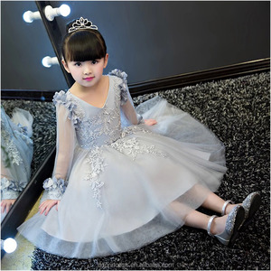 High quality long maxi dress baby girl wedding dress decorative handmade flowers for dresses