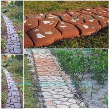 Lyine DIY Plastic Concrete Stepping Stone Patio Stamping Decorative Brick  Pathway Walkway Random Brick Molds