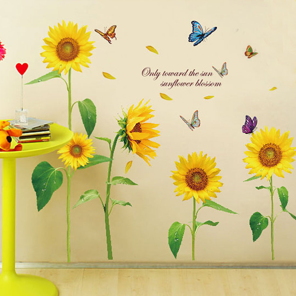 Al por mayor sol girasol pegatinas de pared dormitorio decoraciones flores de diy pvc home decals mural arte cartel