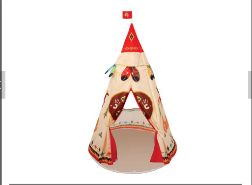 2016 hot popular elegant shape children kids play indian teepee tent nylon fabric and iron tube pole material single layer cute