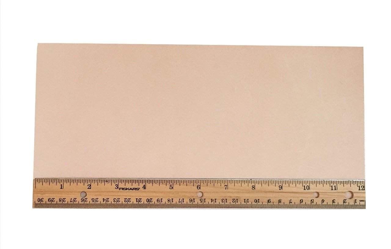 """Tooling Leather Natural Topgrain Veg Tan Light Weight 3-4 oz, 6"""" x 12"""" Piece, 1/2 Square Foot"""