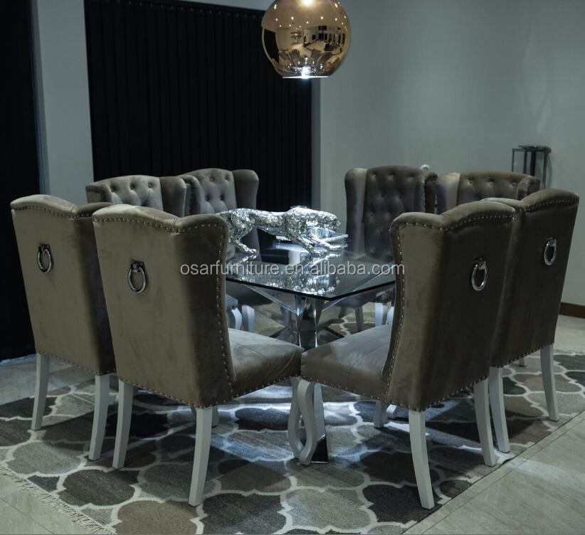 Button Tufted Ring Back Dark Grey Velvet Wing Chairs For