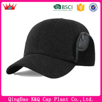Mens winter fleece baseball cap with ear flaps for fashion middle aged