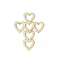 China Supplier Wooden Craft Unfinished Heart Cross Laser Cut Out