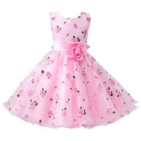 MK002 Frock Design 2018 Children Rose Flower Printed Satin Frock Design Girls Party Dress Kids Birthday Party Dress