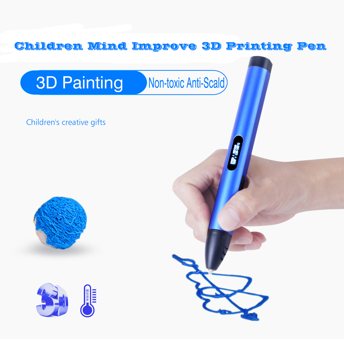 OLED Display 3D Printer Pen USB Rechargeable Safe Harmless Drawing Pen for Kids Students 3D Printing Pen for Kids