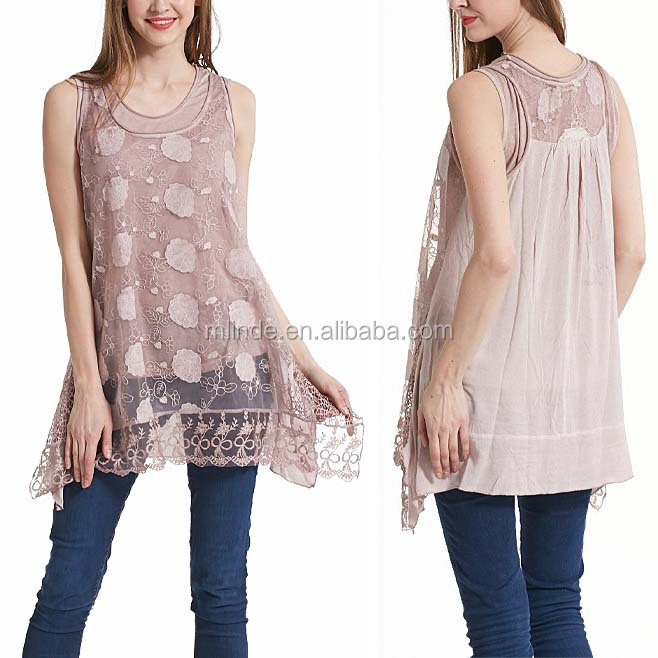 Pink Sheer Floral Lace Layered Sleeveless Tunic shirts office wear for women