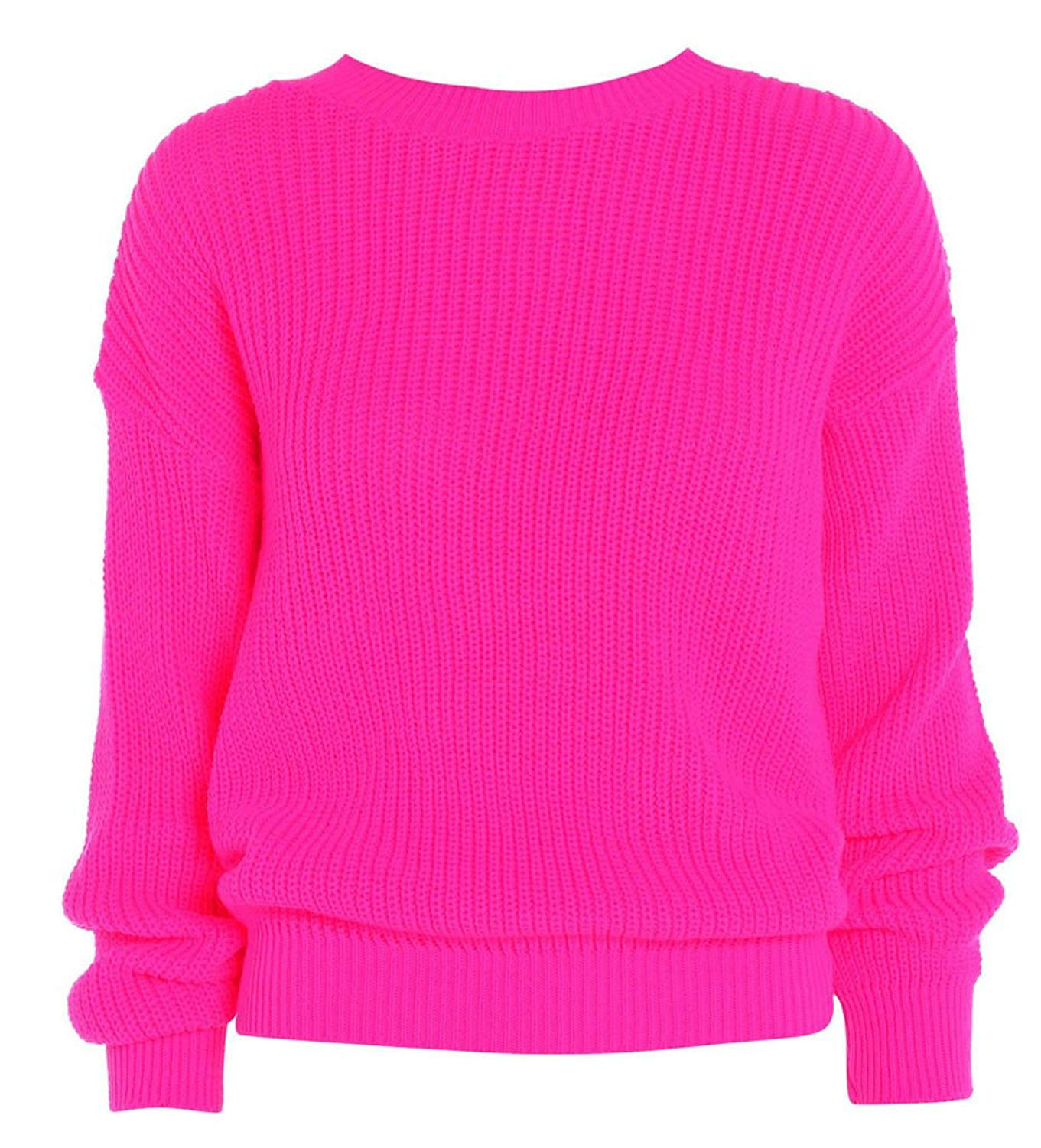 Get Quotations · Hi Fashionz Girls Laides Women Long Sleeves Oversize Knitted  Baggy Jumper Sweater 10da63eaa