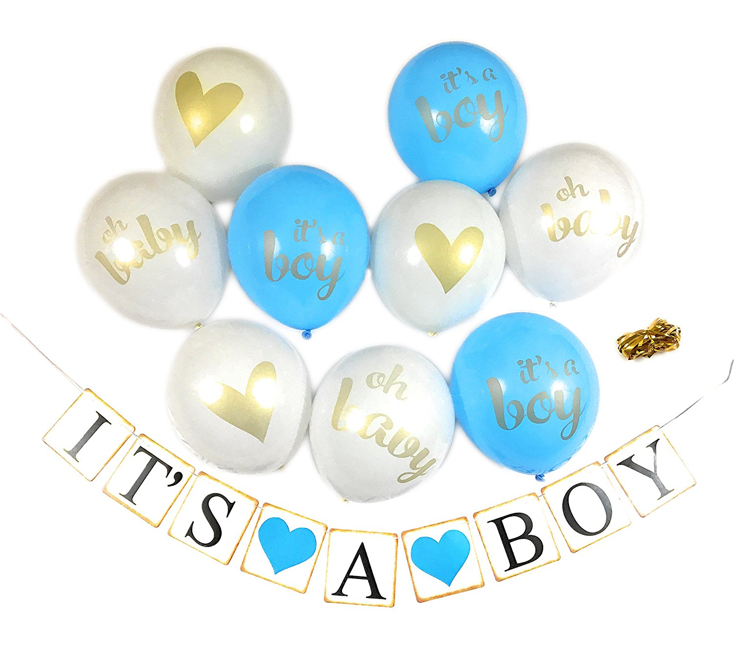 Baby Shower Party Decorations Decoration Decor Assembled Banner (IT'S A BOY) & 9PC Balloons w/ Ribbon [Gold, Baby Blue, White] Kit Set Supplies Bundle | Hang on Wall Door Chair | It Is A Boy