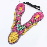 Yiwu bulk sale indian ethnic jewelry wholesale jewelry 2014 handmade cord and leather braided string necklace PN1617
