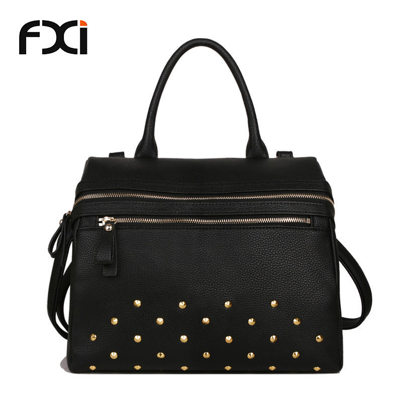 efc76241b9b9 Get Quotations · 2015 all-match new fashion vintage rivet women handbag  black messenger bags tote pu leather
