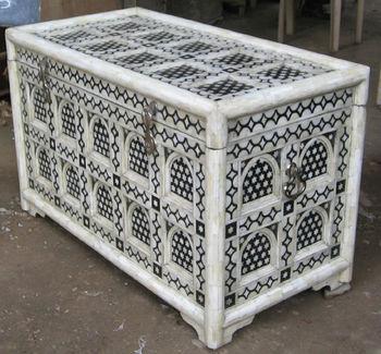 Moroccan Style Camel Bone Inlay Trunk U0026 Box Table Furniture (Bone U0026 Mother  Of Pearl