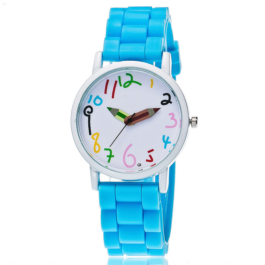 7007 super cool pencil watch hand 10 colors silicone watch children school set kids gift children watches
