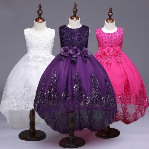 Kids Birthday Wedding Party Wear Evening Gowns Long Tail Squin Plus Size Spring Dresses