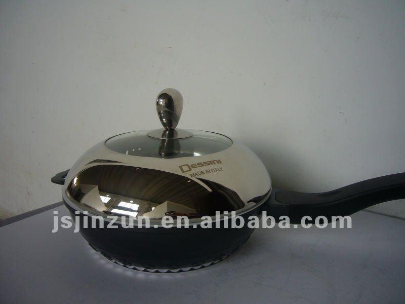 New design aluminum ceramic deep frying pan with soft touch handle