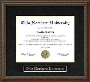 Ohio Northern University (ONU) Diploma Frame - Burl
