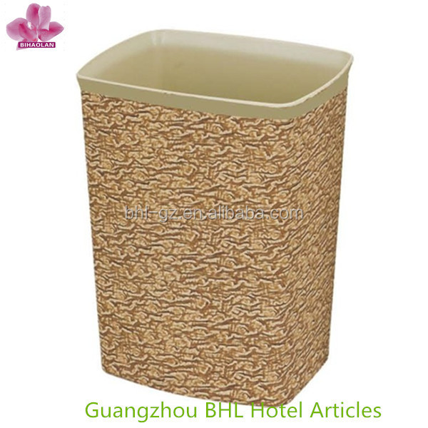 Simple office/home fireproof plastic waste basket,pu leather trash can for sale, Factory directly wholesale GPX-158(PW-26)