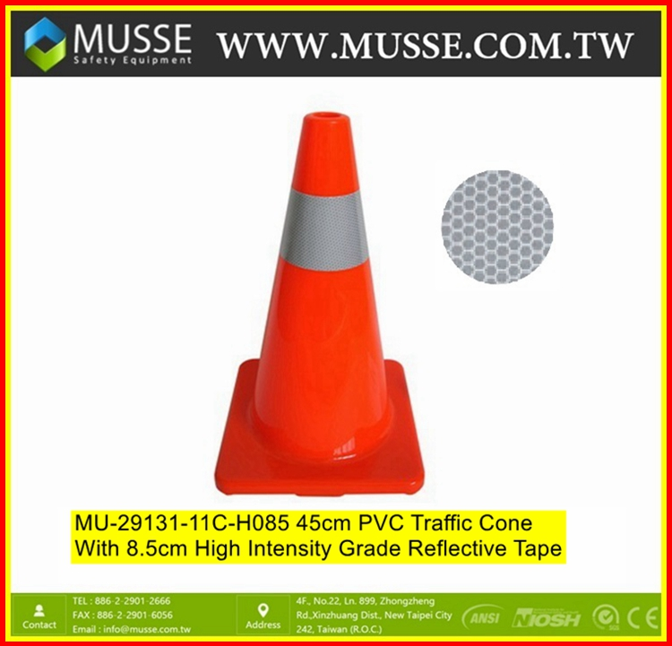 MU-29131-11C-085 45cm PVC colored traffic cones with Reflective tape