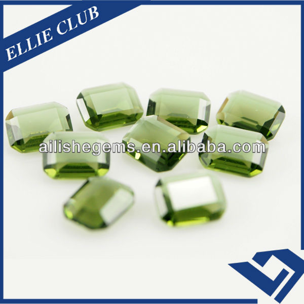 brightly forest green chamfering rectangular shape 4*6mm glass crystal gems