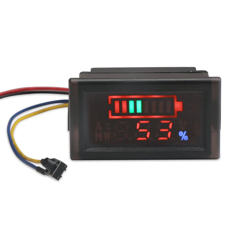 DROK 200073 2in1 Battery Monitor Digital Voltmeter Tester for Electromobile, Waterproof LED Capacity Tester for 12V/24V/36V/48V Lead-acid Cell Lithium Battery, DC6-120V Volts Meter Panel