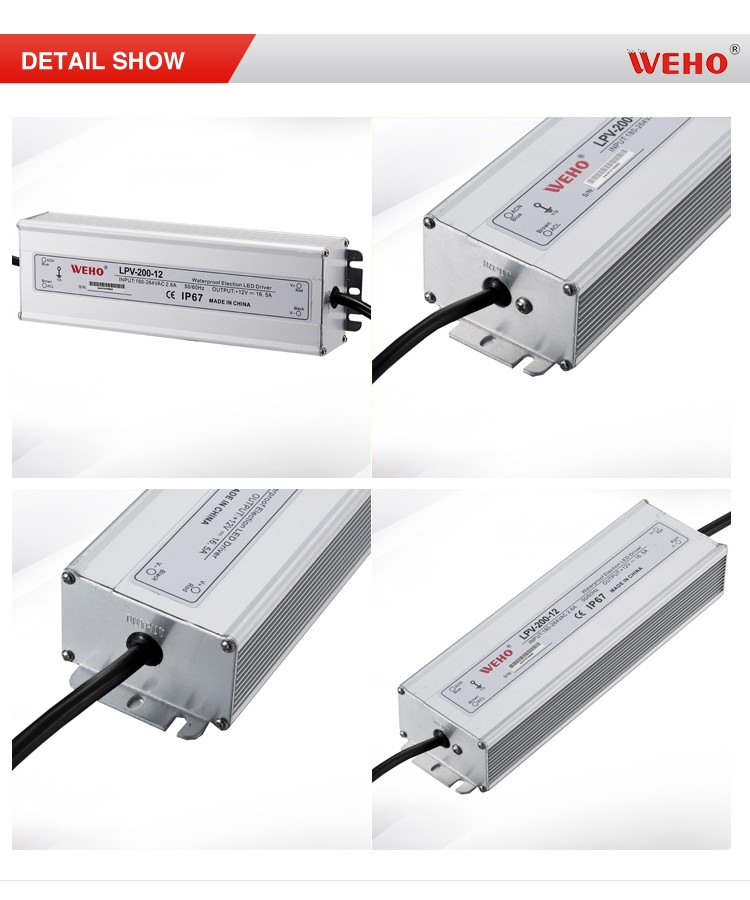 WEHO manufacturer small size IP67 ac to dc waterproof 200w 12v 16.5a led driver power supply