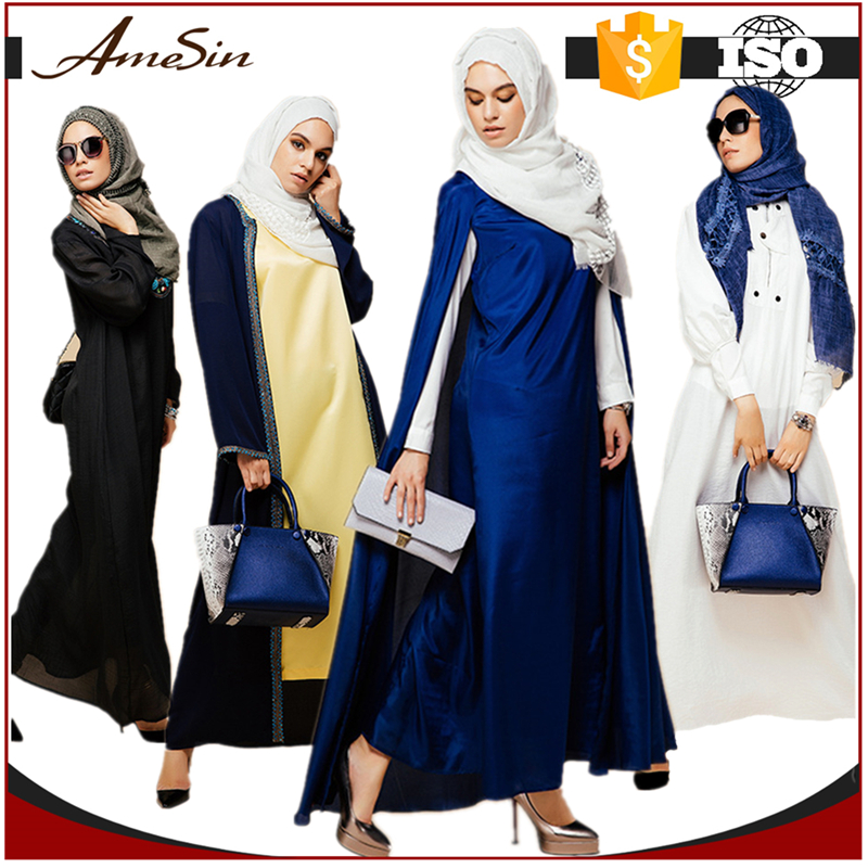 AMESIN Embroidery Islamic Clothing Muslim Dress New Model Abaya in Dubai With Waistband