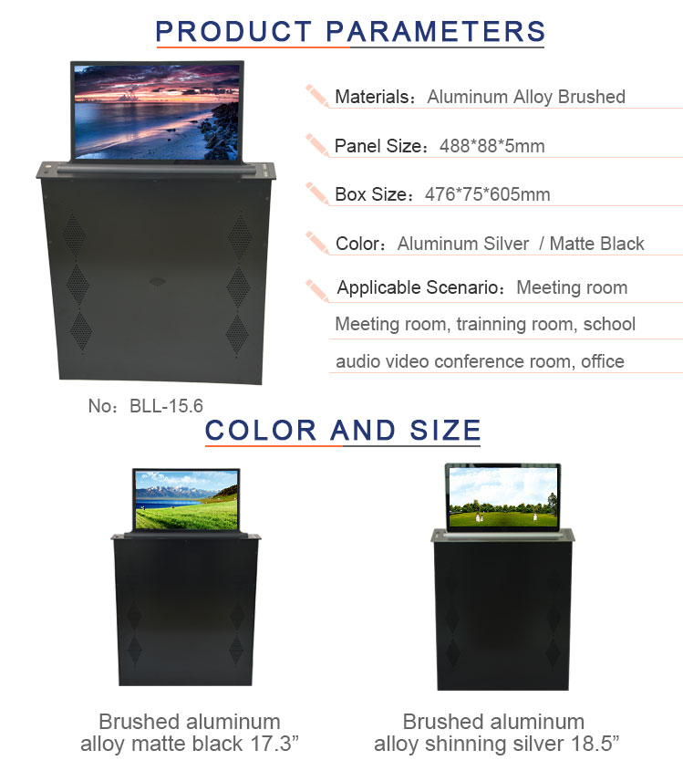 for all in one system office table lcd monitor lift motorized  retractable pop up lift mechanism
