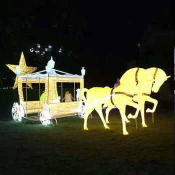 demountable outdoor christmas decoration led lighted horse carriage motif lights - Christmas Lighted Horse Carriage Outdoor Decoration