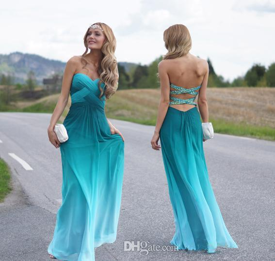 Ombre Wedding Gown: New Design Ombre Peacock Green Chiffon Prom Dresses