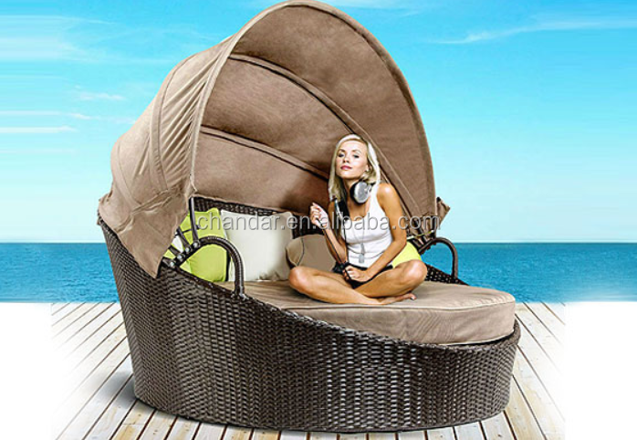 CH-LE006 Stylish Outdoor Wicker Moon Round Chaise Lounge Bed
