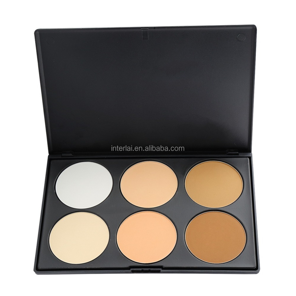 Professional 6 Color No Logo Pressed face Mineral Powder Concealer Palette Cosmetic Makeup Contour Palette