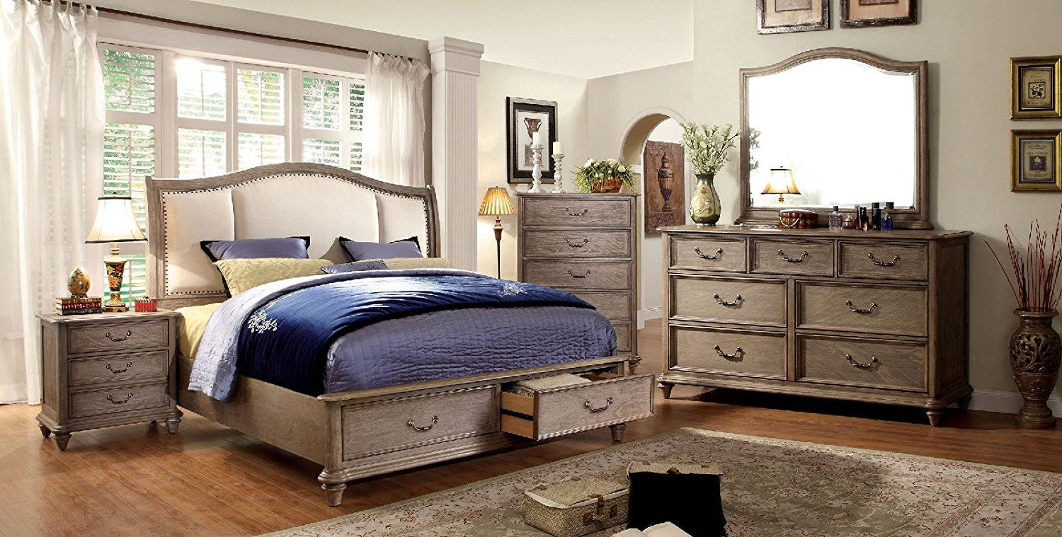 Belgrade Collection Antique Modern Padded Fabric HB Storage FB Platform Queen Size Bed Rustic Natural Tone Finish w Matching Dresser Mirror Nightstand 4pc Set
