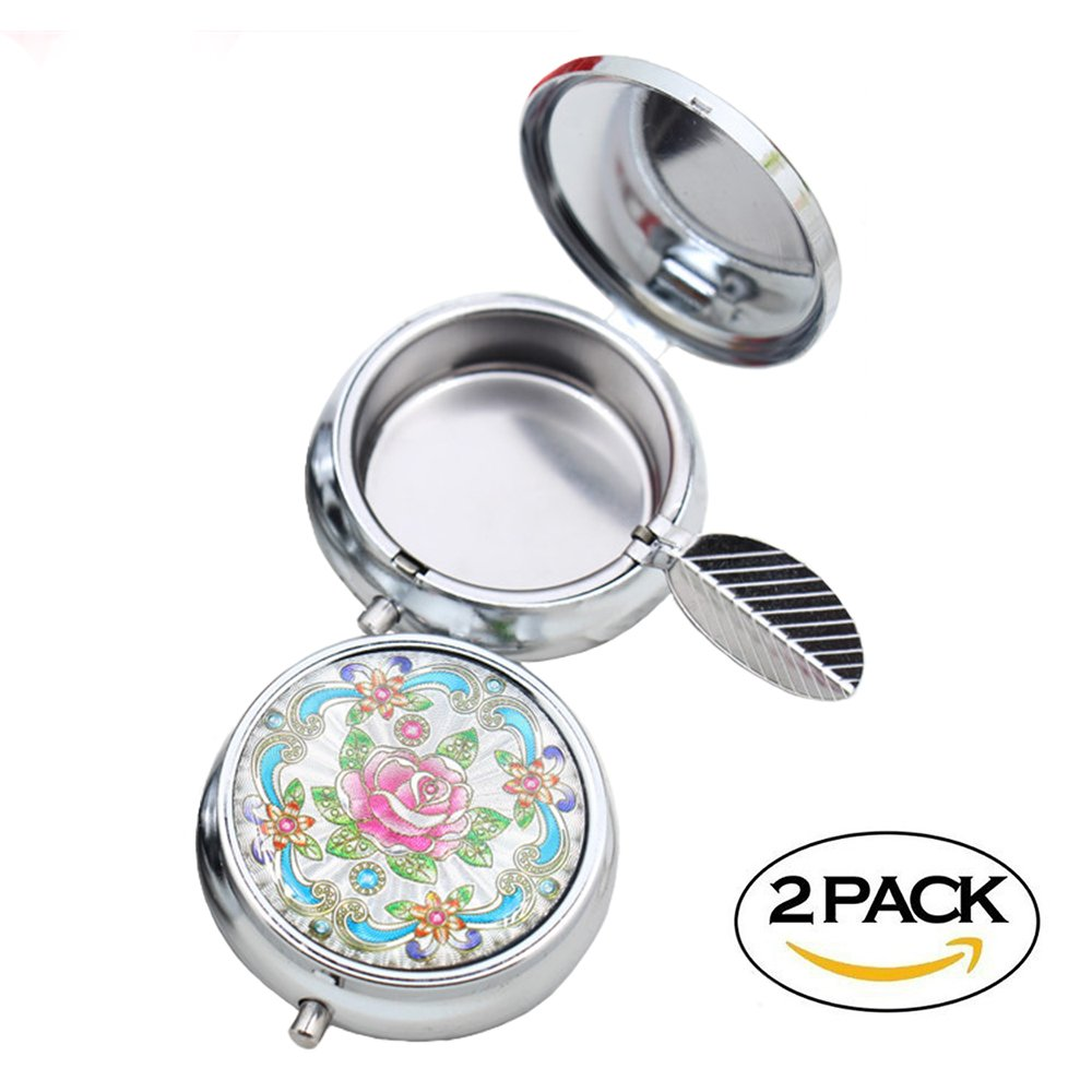 2pc Portable Pocket Ashtray/Vehicle Cigarette Ashtray, CRIVERS Mini Stainless Steel Ashtray with Key Chain and Cigarette Snuffer, Modern Ash Holder for Outdoor Use (Colored Pattern)