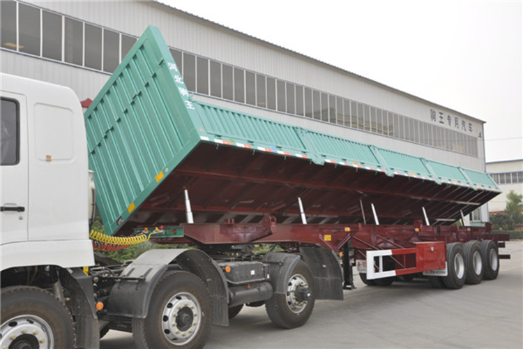 60 Ton U Haul Belakang Tipper/Tiga As Roda End Dump Tip Semi Truk Trailer