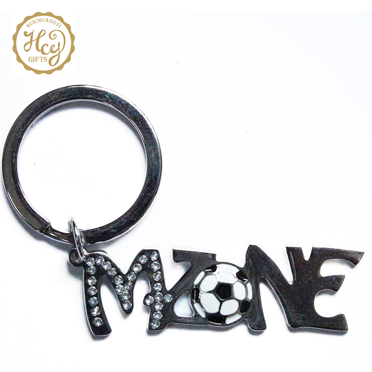High Quality Fashion Custom Logo Printed Personalized Stainless Steel Letter Metal Keychain