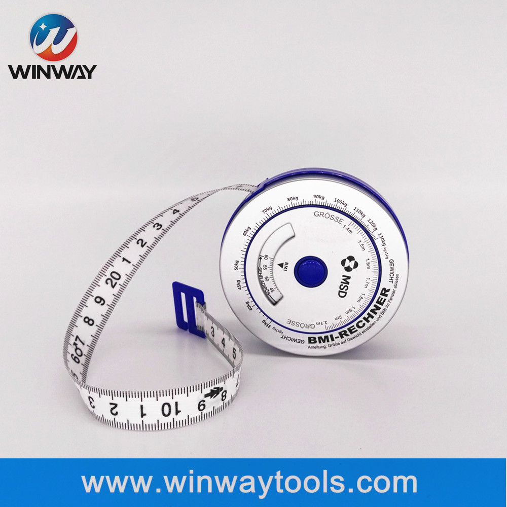 1.5m metal BMI tape measure/cheap ABS case body BMI measure tape