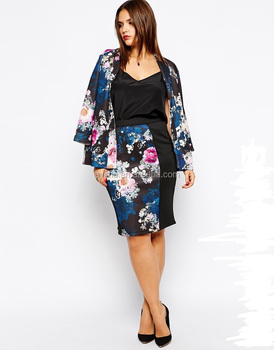 e868e7c410 hot selling plus size high-waisted pencil skirt printed pink clove panelled  lady skirt