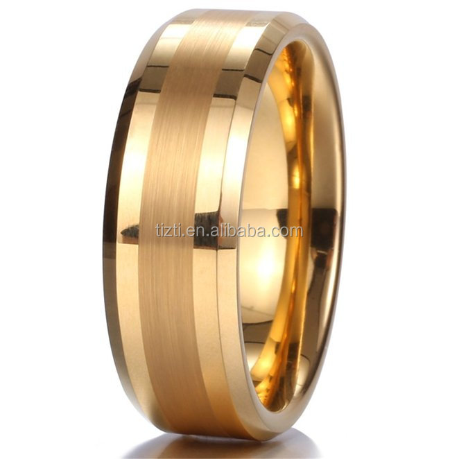 8mm 14k Gold Tungsten Carbide Ring Brushed Center Mens Wedding Band Comfort Fit