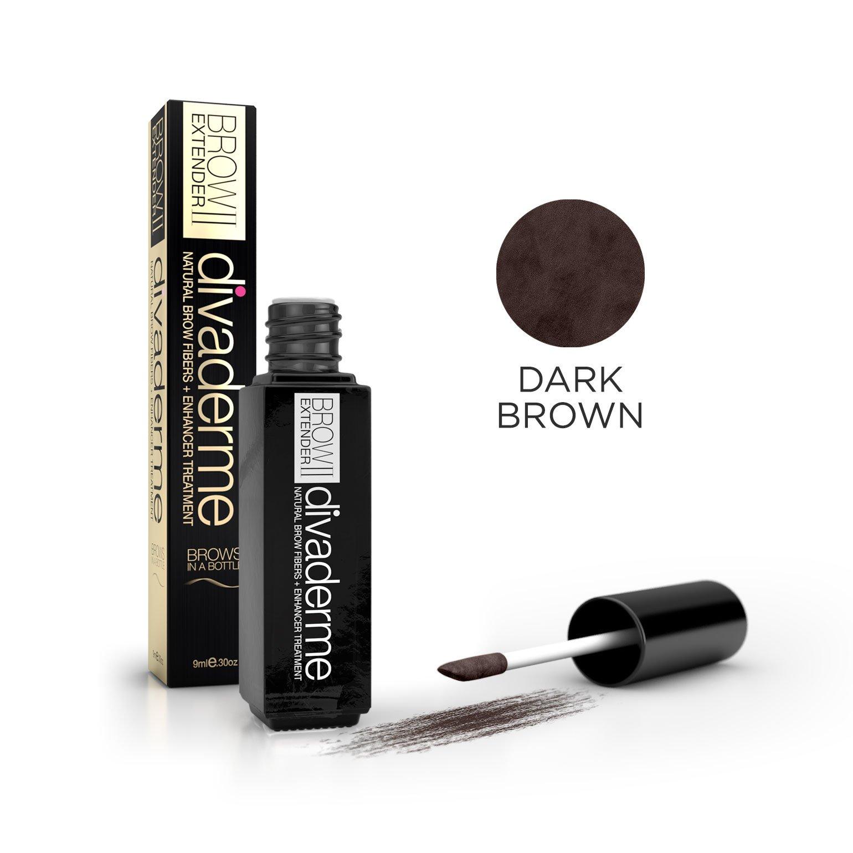 Divaderme Brow Extender II - Black Glass Bottle Edition - 100% Natural Semi Permanent - Eyebrow Fibers + Enhancer Treatment - Made in USA (Dark Brown)