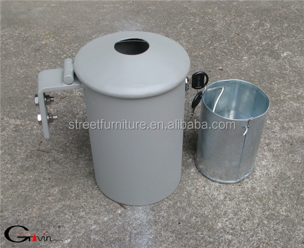 Powder coated outdoor steel wall mounted ash bin/ashtray bin/ash urn
