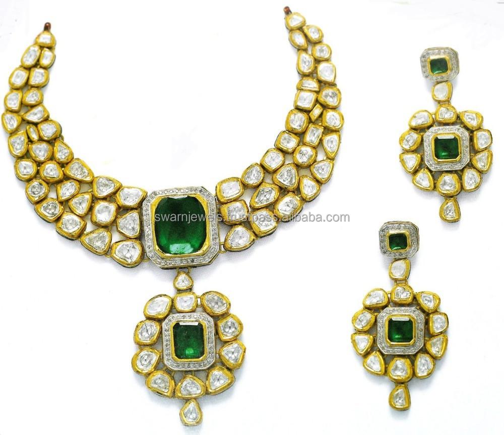 22k Gold Emerald Kundan Necklace Set Buy 22k Gold Kundan Necklace