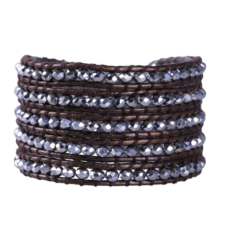 KELITCH Leather Wrap Bracelets Women Unisex Handmade Crystal Beaded Bracelets Fashion Jewelry