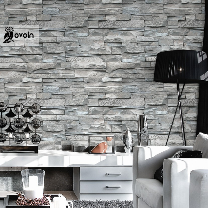 Grey White Embossed Brick Wall Wallpaper Roll Textured 3d